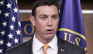 Rep. Duncan Hunter, California Republican, speaks during a news conference on Capitol Hill in Washington on April 7, 2011. (Associated Press) **FILE**