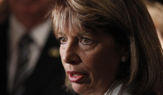 Rep. Jackie Speier, California Democrat, talks to reporters in Washington on Aug. 30, 2011. (Associated Press/FILE)