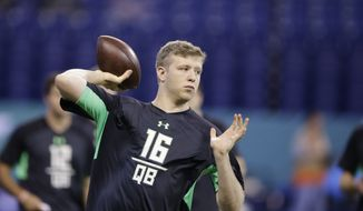 The Washington Redskins drafted Indiana quarterback Nate Sudfeld in the sixth round of the NFL draft Saturday. (AP Photo/Darron Cummings)