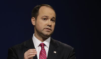 Indiana Republican candidate for U.S. Senate Marlin Stutzman speaks during a debate with opponent Todd Young in Indianapolis, in this April 18, 2016, file photo. Stutzman, has railed against out-of-control government spending paid his brother-in-law nearly $170,000 to manage the finances of his congressional campaign, despite no experience rounding up political donations. (AP Photo/Michael Conroy, File)