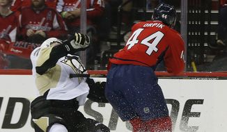 Washington Capitals defenseman Brooks Orpik (44) levels Pittsburgh Penguins defenseman Olli Maatta (3) with a high hit during the first period of Game 2 in an NHL hockey Stanley Cup Eastern Conference semifinal series Saturday, April 30, 2016 in Washington. Pittsburgh won 2-1. (AP Photo/Pablo Martinez Monsivais)