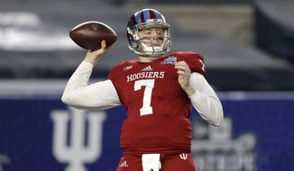 Indiana quarterback Nate Sudfeld looks to throw during the first half of the Pinstripe Bowl NCAA college football game against Duke at Yankee Stadium in New York, Saturday, Dec. 26, 2015. (AP Photo/Seth Wenig)