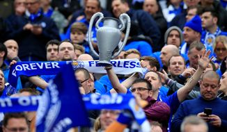 Leicester supporters were hopeful for the Foxes before the English Premier League soccer match Sunday with Manchester United. (Associated Press)