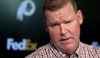 Washington Redskins' general manager Scot McCloughan speaks during a news conference at Redskins Park in Ashburn, Va., Monday, April 25, 2016.    (AP Photo/Manuel Balce Ceneta)