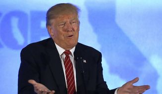 Republican presidential candidate Donald Trump speaks at the California Republican Party 2016 convention in Burlingame, Calif., in this April 29, 2016, file photo. (AP Photo/Jeff Chiu, File)