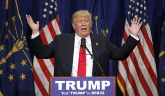 Republican presidential candidate Donald Trump speaks during a campaign stop Monday, May 2, 2016, in South Bend, Ind. (AP Photo/Charles Rex Arbogast) ** FILE **