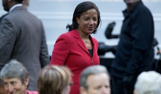 National Security Adviser Susan Rice arrives for the International Jazz Day Concert on the South Lawn of the White House of the Washington, Friday, April 29, 2016. (AP Photo/Carolyn Kaster)