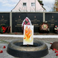 The Russian 'eternal flame' monument honoring fallen Soviet World War II troops has been replaced by a cardboard picture.