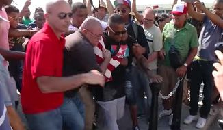 Daniel Llorente, a Cuban dissident displaying an American flag, was arrested at Havana Harbor on Monday as the Carnival cruise ship Adonia made its historic arrival. (ABC Action News)
