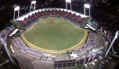 FILE - This Feb. 6, 2015, file photo, shows Hiram Bithorn Stadium as Puerto Rico plays the Dominican Republic at the Caribbean Series baseball tournament in San Juan, Puerto Rico. Baseball has scrapped a series in Puerto Rico between the Pirates and Marlins amid concerns over the Zika virus.  Major League Baseball and the players' union made the announcement Friday, May 6, 2016. The two games scheduled for San Juan on May 30-31 will instead be played in Miami. (AP Photo/Ricardo Arduengo, File)