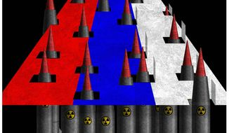 Illustration on the continuing Russian nuclear threat by Alexander Hunter/The Washington Times