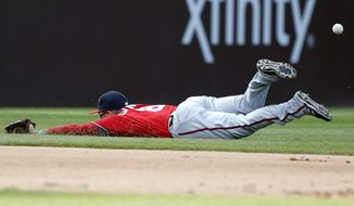 Washington Nationals shortstop Danny Espinosa cannot make the play on a single hit by Chicago Cubs' Ryan Kalish during the sixth inning of a baseball game Saturday, May 7, 2016, in Chicago. (AP Photo/Nam Y. Huh)