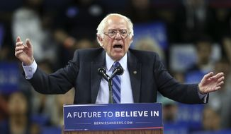 Democratic presidential candidate, Sen. Bernie Sanders, I-Vt., speaks at a campaign rally Sunday, May 8, 2016 in Piscataway, N.J. (AP Photo/Mel Evans)