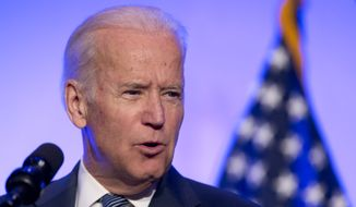 Vice President Joe Biden speaks at the 2016 Health Datapalooza's annual national conference in Washington, Monday, May 9, 2016, featuring the newest and most innovative and effective uses of health data by companies, startups, academics, government agencies and individuals. (AP Photo/Manuel Balce Ceneta) ** FILE **
