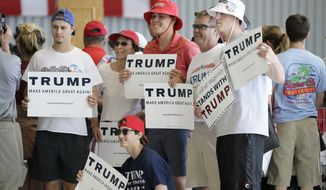 Supporters wait for Republican presidential candidate Donald Trump to arrive at a rally, Friday, May 6, 2016, in Omaha, Neb. (AP Photo/Charlie Neibergall)
