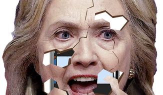 Illustration on Hillary's crumbling legal situation by Alexander Hunter/The Washington Times