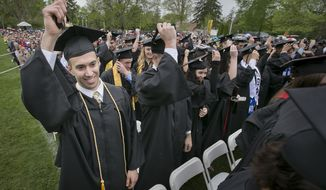 Rowan University graduation on Tuesday, May 10, 2016, Glassboro, N.J. (Alejandro A. Alvarez/The Philadelphia Inquirer via AP) ** FILE **