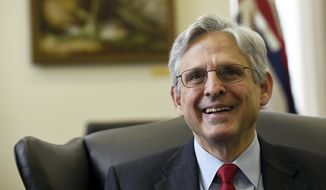Supreme Court nominee Merrick Garland smiles during his meeting with Sen. Brian Schatz, D-Hawaii, on Capitol Hill in Washington, Tuesday, May 10, 2016. (AP Photo/Susan Walsh) ** FILE **