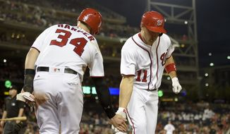 Washington Nationals' Ryan Zimmerman (11) celebrates his two-run home run with Bryce Harper (34) during the fifth inning of an interleague baseball game against the Detroit Tigers, Tuesday, May 10, 2016, in Washington. (AP Photo/Nick Wass)