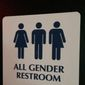 "This May 11, 2014, file photo shows an ""All Gender Restroom"" sign outside a bathroom in a bar in Washington. Confrontations have flared across the country over whether to protect or curtail the right of transgender people to use public restrooms in accordance with their gender identity. (AP Photo) ** FILE **"