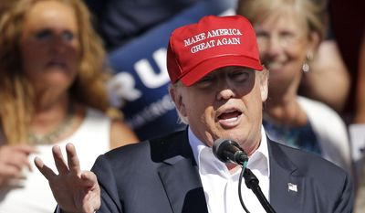 In this May 7, 2016, file photo, Republican presidential candidate Donald Trump speaks at a rally in Lynden, Wash. (AP Photo/Elaine Thompson, File)