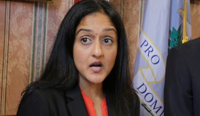"Vanita Gupta, head of the Justice Department's Civil Rights Division, said North Carolina's HB2 violates both Title VII and Title IX. Ms. Gupta said that because gender identity is tangentially related to biological sex as determined by chromosomes and genitalia, prohibitions on ""sex"" discrimination apply to ""gender identity."" (Associated Press)"