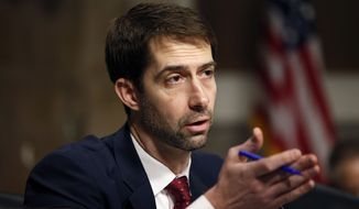Sen. Tom Cotton, Arkansas Republican, speaks on Capitol Hill in Washington on Jan. 28, 2016. (Associated Press) **FILE**