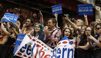 Supporters attend a campaign rally for Sen. Bernie Sanders, Vermont independent and Democratic presidential candidate, in Salem, Ore., on May 10, 2016. (Danielle Peterson/Statesman-Journal via AP)