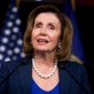 House Minority Leader Nancy Pelosi of Calif., accompanied by other House Democratic leaders, speaks at a news conference on Capitol Hill in Washington, Wednesday, May 11, 2016, to discuss how Donald Trump's rhetoric echoes the long-standing policy positions of House Republicans. (AP Photo/Andrew Harnik)