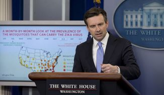 White House press secretary Josh Earnest speaks during the daily news briefing at the White House in Washington, Wednesday, May 11, 2016. Earnest discussed the Zika virus, the Syrian city of Palmyra, and other topics. (AP Photo/Carolyn Kaster)