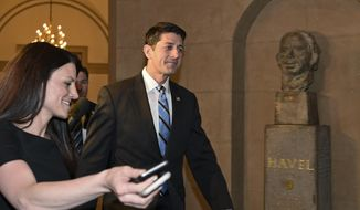 House Speaker Paul Ryan of Wis. arrives on Capitol Hill in Washington, Tuesday, May 10, 2016. Ryan is expected to meet with Republican presidential candidate Donald Trump on Thursday, May 12, 2016. (AP Photo/Susan Walsh)