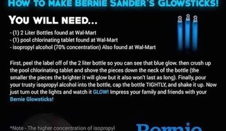 A hoax meme being circulated on the Internet that instructs people on how to make a Bernie Sanders 'glowstick' is actually a recipe for an explosive chlorine bomb.