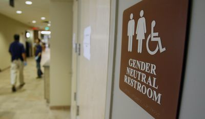 A sign marks the entrance to a gender-neutral restroom at the University of Vermont in Burlington, Vt. (Associated Press)