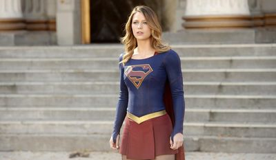 "In this image released by CBS, Melissa Benoist appears in a scene from ""Supergirl."" The CW said Thursday, May 12, 2016, that it's picking up the series from CBS, where it debuted last year. (Darren Michaels/Warner Bros. Entertainment Inc. via AP)"