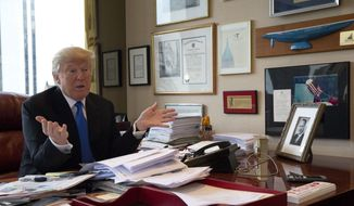 Republican presidential candidate Donald Trump speaks during an interview with The Associated Press in his office at Trump Tower in New York, Tuesday, May 10, 2016. (AP Photo/Mary Altaffer) ** FILE **