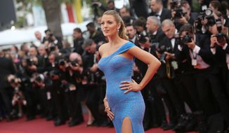 Actress Blake Lively poses for photographers upon arrival at the screening of the film The BFG at the 69th international film festival, Cannes, southern France, Saturday, May 14, 2016. (AP Photo/Thibault Camus)