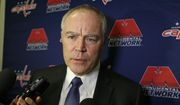 Washington Capitals general manager Brian MacLellan speaks before an NHL hockey game against the New York Islanders Thursday, Jan. 7, 2016, in New York. (AP Photo/Frank Franklin II)