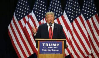 In this May 6, 2016, file photo, Republican presidential candidate Donald Trump speaks during a rally in Eugene, Ore. (AP Photo/Ted S. Warren, File)