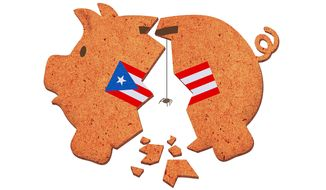 Illustration on the financial failure of Puerto Rico by Greg Groesch/The Washington Times