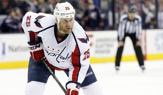 Washington Capitals' Jason Chimera plays against the Columbus Blue Jackets during an NHL hockey game Tuesday, Jan. 19, 2016, in Columbus, Ohio. (AP Photo/Jay LaPrete)