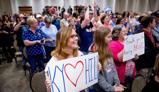 Supporters stand as Democratic presidential candidate Hillary Clinton arrives to speak at a get out the vote event at James E. Bruce Convention Center in Hopkinsville, Ky., Monday, May 16, 2016. (AP Photo/Andrew Harnik)