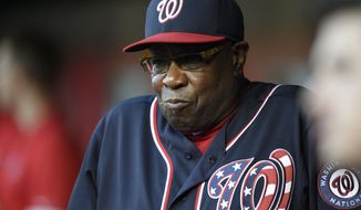 Washington Nationals manager Dusty Baker looks on before a baseball game against the Miami Marlins, Friday, May 13, 2016, in Washington. (AP Photo/Nick Wass)