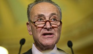 Sen. Charles Schumer, New York Democrat, speaks to the media on Capitol Hill in Washington on May 17, 2016. (Associated Press) **FILE**
