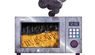 Failure to Follow Microwave Instructions Illustration by Greg Groesch/The Washington Times