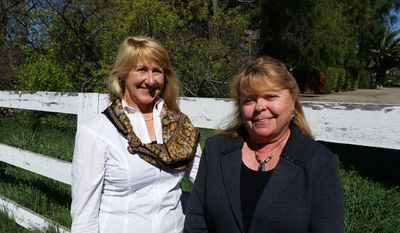 Santa Ynez residents Leslie Mosteller and Andie Culbertson are concerned the Santa Ynez Band of Chumash Indians' effort to develop 1,400 acres is incompatible with the valley's commitment to ranching and farming.   Photo by Valerie Richardson/The Washington Times