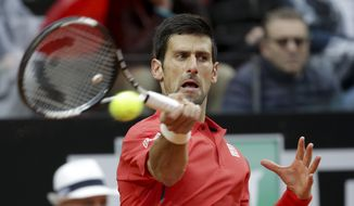 Novak Djokovic returns a backhand to Andy Murray, during their final match at the Italian Open tennis tournament, in Rome, Sunday, May 15, 2016. (AP Photo/Alessandra Tarantino)