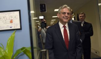 Supreme Court nominee Merrick Garland arrives for his meeting with Sen. Mazie Hirono, D-Hawaii., on Capitol Hill in Washington, Wednesday, May 18, 2016. (AP Photo/Susan Walsh)