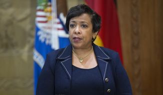 Attorney General Loretta Lynch speaks at the Justice Department in Washington, Wednesday, May 18, 2016, during a meeting with German Interior Minister Thomas de Maiziere. (AP Photo/Evan Vucci) ** FILE **