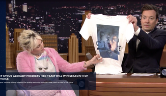 "Screen capture from NBC.com video of Miley Cyrus promoting new ""pro choice"" T-shirt on the May 17, 2016 edition of The Tonight Show Starring Jimmy Fallon."