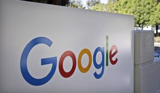 This Oct. 20, 2015, file photo, shows a sign outside Google headquarters in Mountain View, Calif. Google unveils its vision for phones, cars, virtual reality and more during its annual conference for software developers, beginning Wednesday, May 18, 2016. (AP Photo/Marcio Jose Sanchez, File)